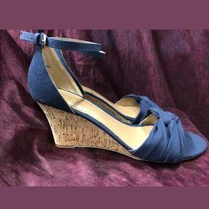 Navy Blue Cushioning Wedge Open Toe Sandals.